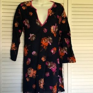 J Crew Long Navy Gauze Tunic Dress or top L Floral
